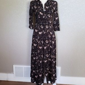 Zara Woman long Maxi button down dress